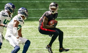 Calvin Ridley of the Atlanta Falcons runs with the ball versus Seattle Seahawks