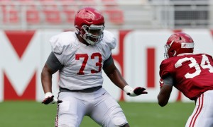 Evan Neal in his stance versus Quandarrius Robinson at Alabama scrimmage