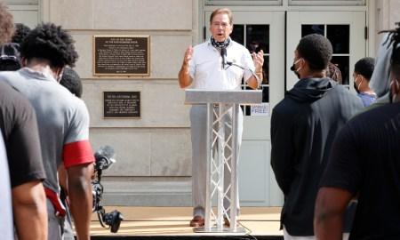 Nick Saban speaking at Alabama's peaceful march on racial/social injustice