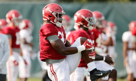 William Anderson (No. 31) stretching at Alabama fall practice