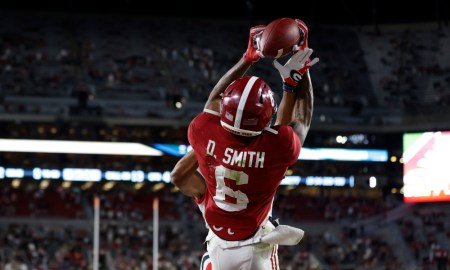 DeVonta Smith with a TD catch over Eric Stokes of UGA