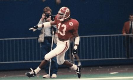 George Teague, Alabama safety, celebrates a pick-six versus Miami in 1993 Sugar Bowl