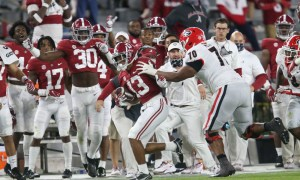 Malachi Moore returns an interception for Alabama versus UGA