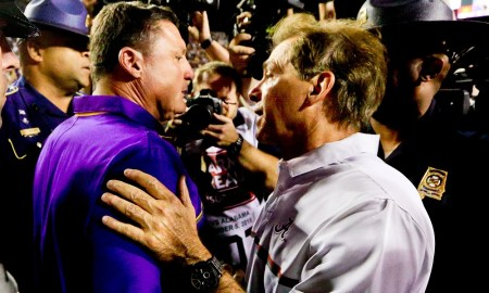 Nick Saban and Ed Orgeron shake hands after LSU beat Alabama in 2019