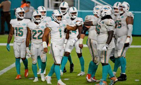 Tua Tagovailoa breaks the huddle in first NFL game