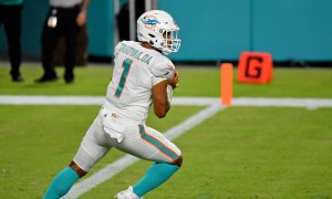 Tua Tagovailoa drops back to pass for Miami Dolphins in NFL debut