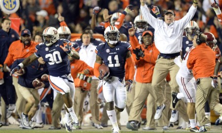Chris Davis of Auburn returns missed FG 109 yards for a TD in 2013 versus Alabama