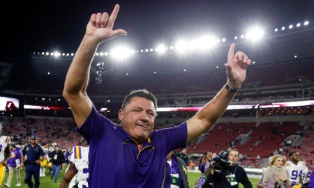 Ed Orgeron of LSU celebrates win over Alabama in 2019