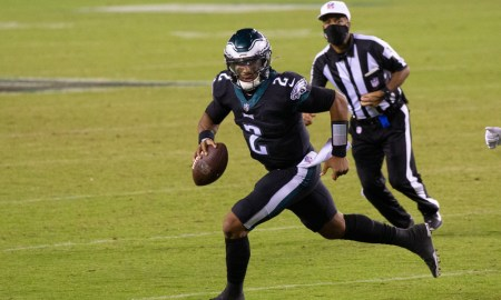 Jalen Hurts rolling out of pocket for Eagles versus Giants