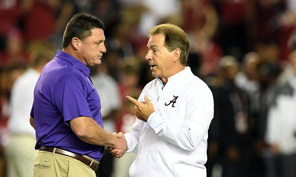 Nick Saban and Ed Orgeron talk before the Alabama LSU game