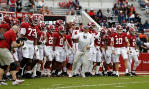 Steve Sarkisian leads Alabama out of the tunnel