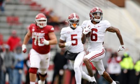 DeVonta Smith returns punt against Arkansas