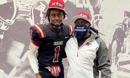 Alabama commit Ga'Quincy MckInstry poses with his dad