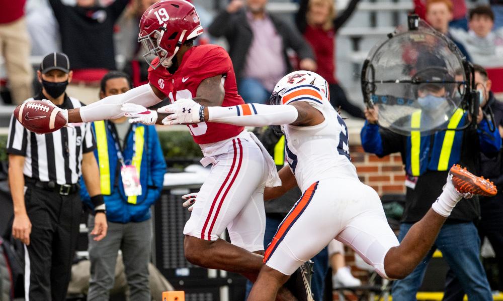 Jahleel Billingsley of Alabama scores a TD versus Auburn in Iron Bowl