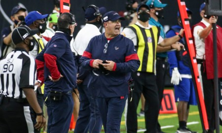 Bill O'Brien of Texans reacts to a play versus the Ravens