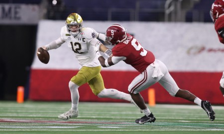 Jordan Battle (No. 9) Alabama pressuring Ian Book of Notre Dame