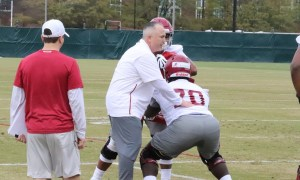 Kyle Flood ging through drills with Alabama football