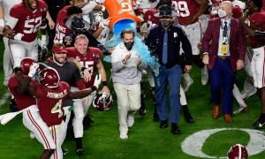 Alabama players dump Gatorade on Nick Saban after winning CFP National Championship game