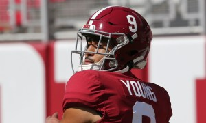 Bryce Young in warmups before 2020 game against Texas A&M