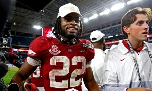 Najee Harris celebrates Alabama defeating Ohio State to win 2020 CFP title