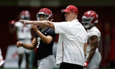 Alabama OC Bill O'Brien coaching Bryce Young at spring practice