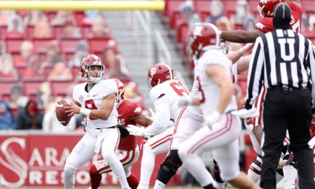 Bryce Young attempts a pass for Alabama versus Arkansas in 2020