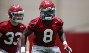 Christian Harris working through drills at Alabama spring practice