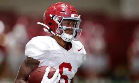 DeVonta Smith catches a pass in practice