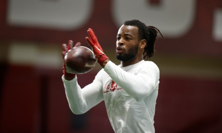 Najee Harris catches a pass at Alabama's Pro Day
