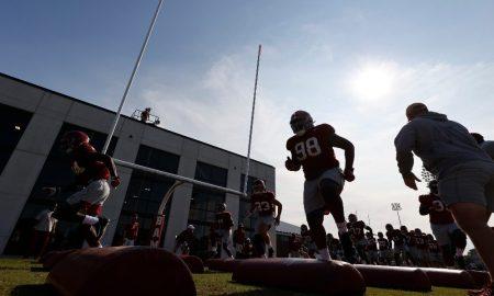 Alabama goes through drills at practice facility