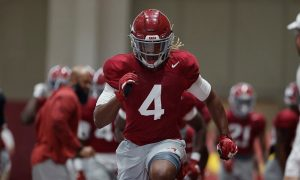 Christopher Allen going through OLB drills at Alabama spring practice