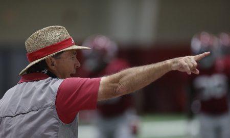 Nick Saban directing players at Alabama spring practice