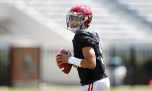 Bryce Young holding the ball in Alabama's second scrimmage