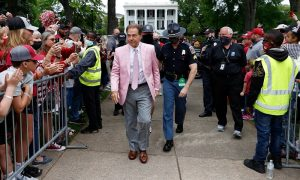 Nick Saban walking up to Bryant-Denny Stadium for A-Day Game