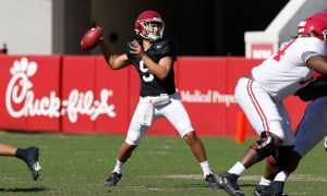Bryce Young throws a pass at Alabama's spring scrimmage