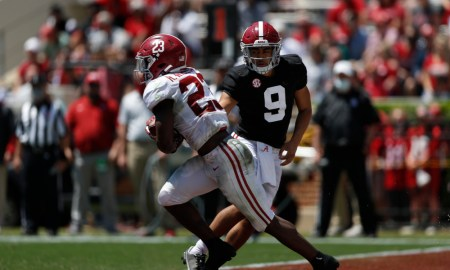 Bryce Young hands the ball off to Roydell Williams on A-Day