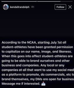 Kendall Randolph responding to NCAA allowing student-athletes to begin profiting off their name, image, and likeness starting July 1