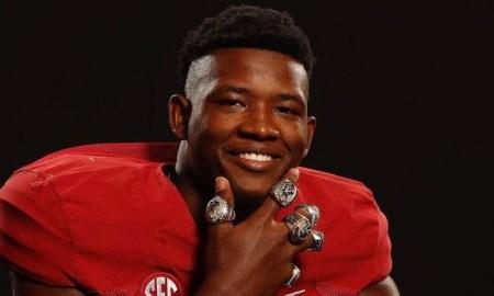 Kenyatta Jackson wears Alabama championship rings during official visit