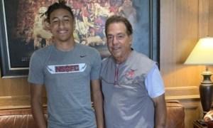 Peyton Woodyard takes picture with Nick Saban during visit to Alabama