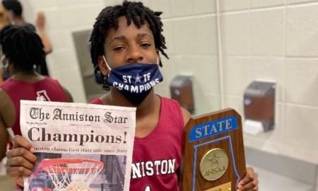 Antonio Kite celebrates basketball state championship