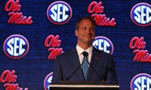 Lane Kiffin answers questions at the 2021 SEC Media Days