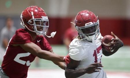 Alabama wide receiver Agiye Hall (17)