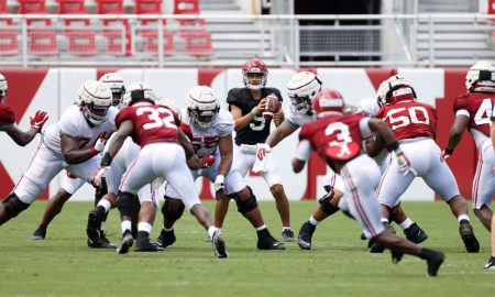 Bryce Young drops back to pass during Alabama's scrimmage
