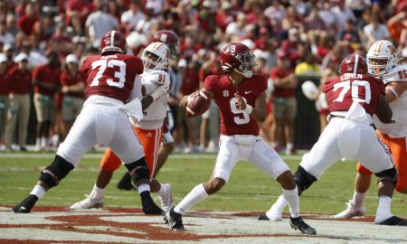 Bryce Young steps into a throw against Mercer