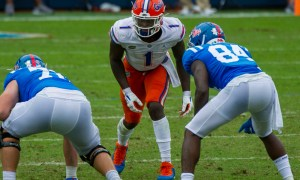 Brenton Cox Jr. (#1) in his stance at outside linebacker for Florida in 2020 game versus Ole Miss