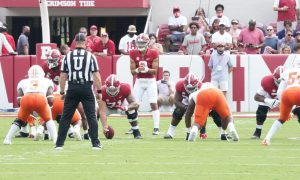 Bryce Young lines up with the offensive line against Mercer