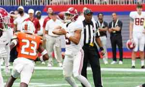 Bryce Young throws a pass against Miami