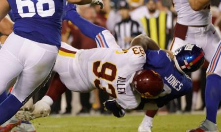 Jonathan Allen (No. 93) sacks Giants' QB Daniel Jones in Washington's victory