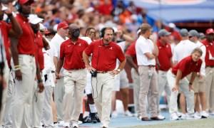 Nick Saban walking the Alabama sideline versus Florida