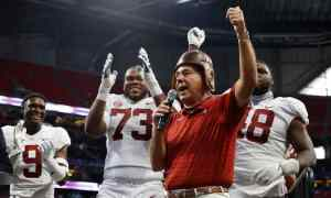 Nick Saban celebrates Alabama's win over Miami
